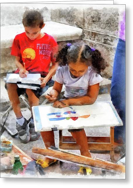 Cuba Greeting Cards - Art Students Greeting Card by Dawn Currie