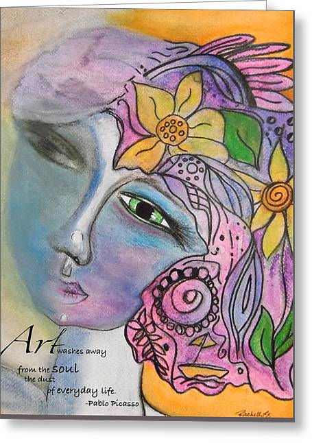 Pablo Greeting Cards - Art Washes Away Greeting Card by Rachelle Eason