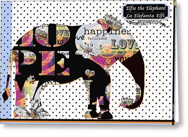 Stationery Mixed Media Greeting Cards - HAPPY BOHO ELEPHANT - ELEFANTE FELIZ Arte Bilingue - Bilingual Baby Greeting Card by Anahi DeCanio - ArtyZen Studios