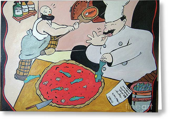 Arte Pizza Greeting Card by Pat Saunders-White