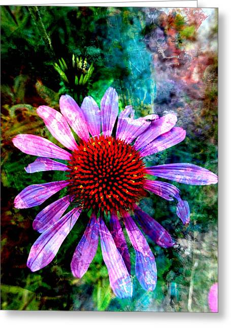Layers Greeting Cards - Artful Coneflower Greeting Card by Judy Arbuckle