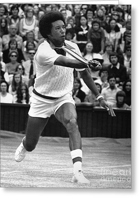 Tennis Champion Greeting Cards - Arthur Ashe (1943-1993) Greeting Card by Granger