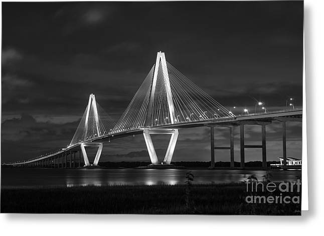Mt. Pleasant Sc Greeting Cards - Arthur Ravenel At Night Grayscale Greeting Card by Jennifer White