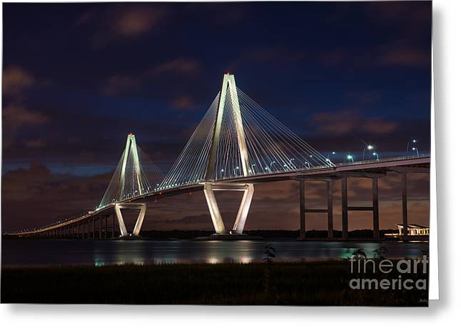 Landscape Framed Prints Greeting Cards - Arthur Ravenel At Night Greeting Card by Jennifer White