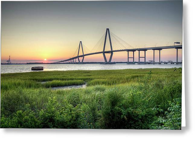 Hdr (high Dynamic Range) Greeting Cards - Arthur Ravenel Bridge Sunset Greeting Card by Dustin K Ryan