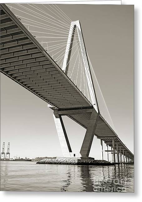 Cable-stayed Bridge Greeting Cards - Arthur Ravenel Jr Bridge Charleston SC Cooper River Greeting Card by Dustin K Ryan