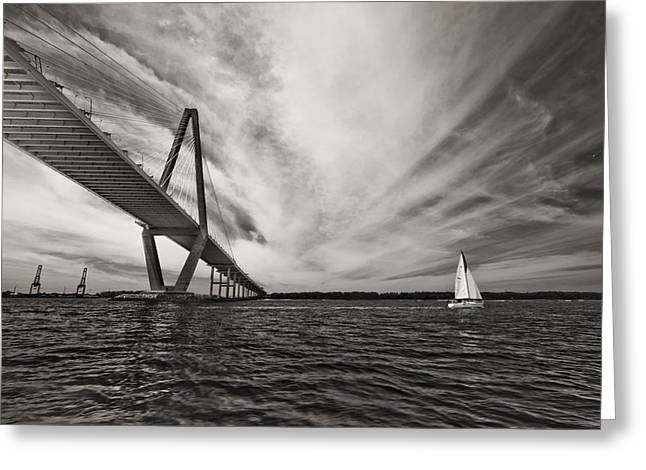 Arthur Greeting Cards - Arthur Ravenel Jr. Bridge over the Cooper River Greeting Card by Dustin K Ryan