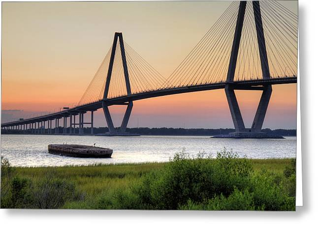Hdr (high Dynamic Range) Greeting Cards - Arthur Ravenel JR. Bridge Sunset Greeting Card by Dustin K Ryan