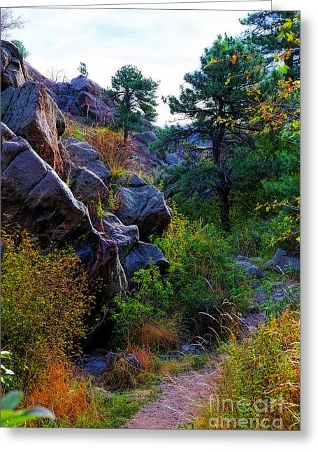 Arthur's Rock Trail Greeting Card by Jon Burch Photography