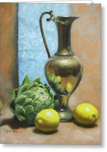 Pitchers Greeting Cards - Artichoke and Lemons Greeting Card by Anna Rose Bain