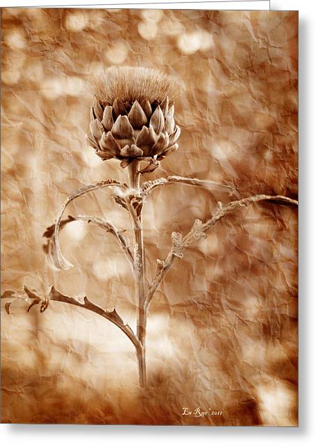 Aged Greeting Cards - Artichoke Bloom Greeting Card by La Rae  Roberts