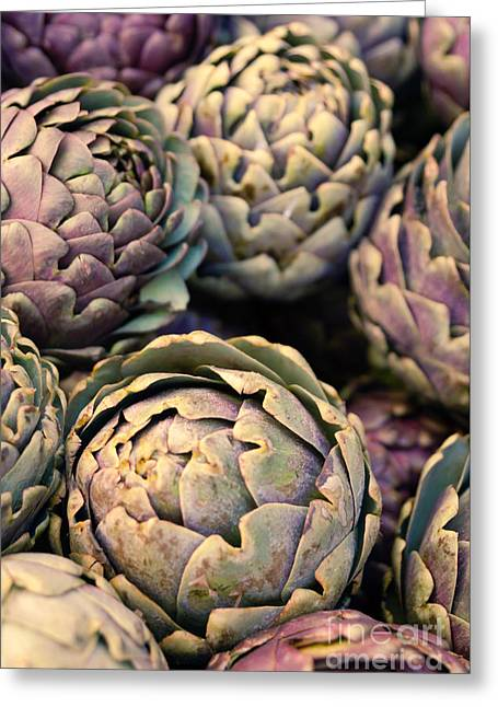 Organic Foods Greeting Cards - Artichokes Greeting Card by Ana V  Ramirez