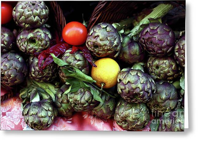 Italian Restaurant Greeting Cards - Artichokes Greeting Card by John Rizzuto