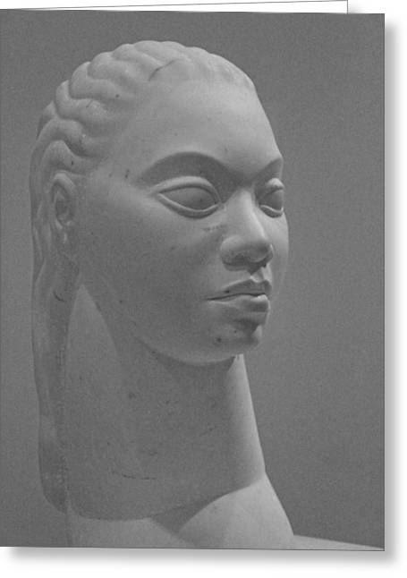 Idealized Greeting Cards - Artis Untitled -- Idealized Head Of A Woman Greeting Card by Cora Wandel