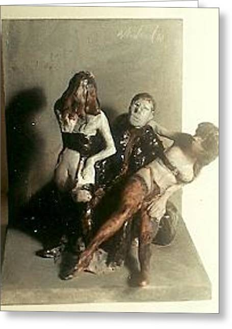 Erotic Sculptures Greeting Cards - Artist and 2 Models in Black Lingerie Greeting Card by Harry  Weisburd