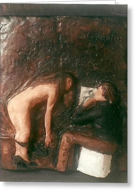 Realism Sculptures Greeting Cards - Artist and Nude Model Greeting Card by Harry  Weisburd