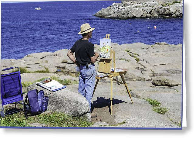 Cape Neddick Lighthouse Greeting Cards - Artist at Work Greeting Card by Phyllis Taylor