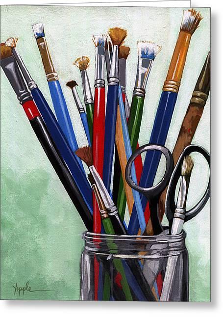 Linda Apple Paintings Greeting Cards - Artist Brushes Greeting Card by Linda Apple