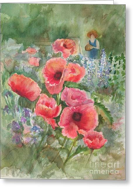 Artist In The Garden Greeting Card by B Rossitto