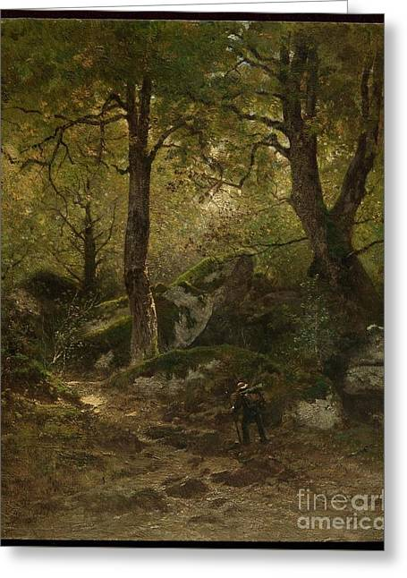 Fontainebleau Forest Greeting Cards - Artist in the Gorge aux Loups Greeting Card by MotionAge Designs