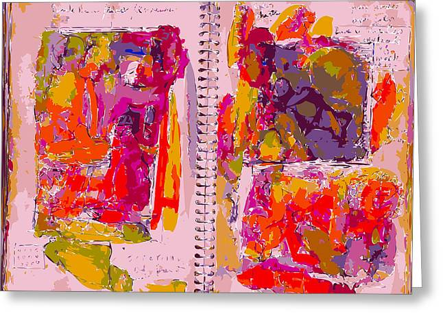 Sketchbook Greeting Cards - Artist Journal With Red Color Studies Greeting Card by F Burton