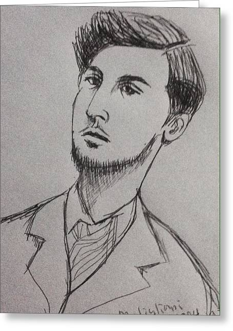 Artist Modigliani  Greeting Card by Hae Kim