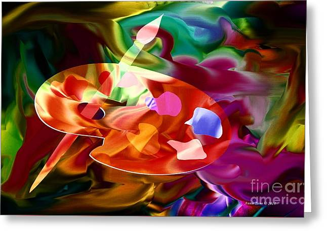 Artist Palette In Neon Colors Greeting Card by Annie Zeno