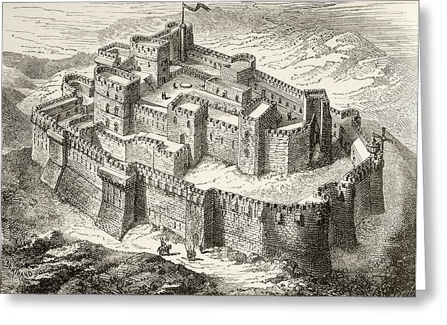 Chevalier Drawings Greeting Cards - Artist S Impression Of Krak Or Crac Des Greeting Card by Ken Welsh