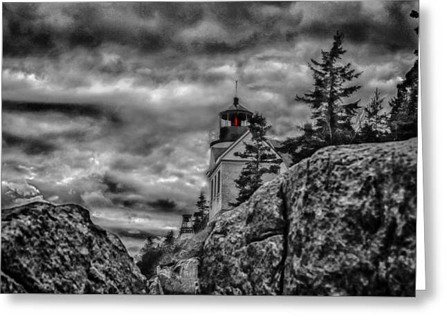 Coastal Maine Greeting Cards - Artistic Bass Harbor lighthouse in Acadia Greeting Card by Jeff Folger