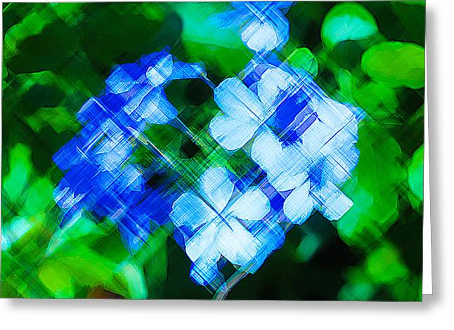 Pinks And Purple Petals Greeting Cards - Artistic blue flowers Greeting Card by Darrell Hutto