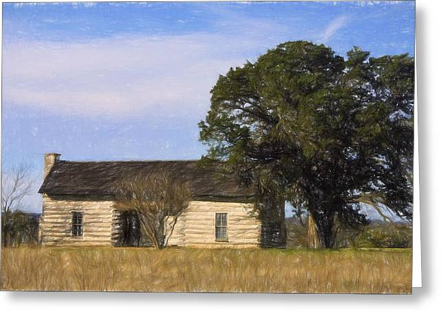 Log Cabin Digital Greeting Cards - Artistic Texas Log Cabin  Greeting Card by Linda Phelps