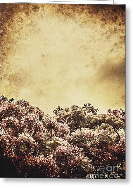 Cardboard Greeting Cards - Artistic vintage flowers background Greeting Card by Ryan Jorgensen