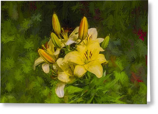 White Digital Art Greeting Cards - Artistic Yellow Fantasy Greeting Card by Leif Sohlman