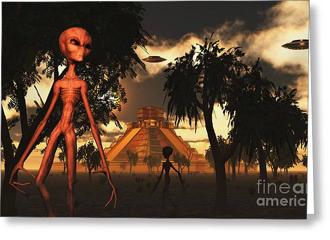 Skinny Digital Greeting Cards - Artists Concept Of Aliens Helping Greeting Card by Mark Stevenson
