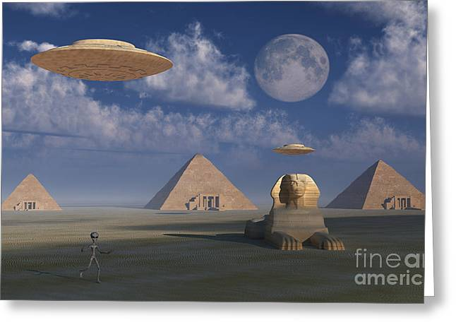 Lost Civilization Greeting Cards - Artists Concept Of Grey Aliens Helping Greeting Card by Mark Stevenson