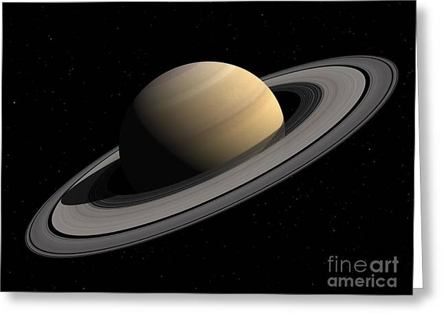 Ring Systems Greeting Cards - Artists Concept Of Saturn Greeting Card by Walter Myers