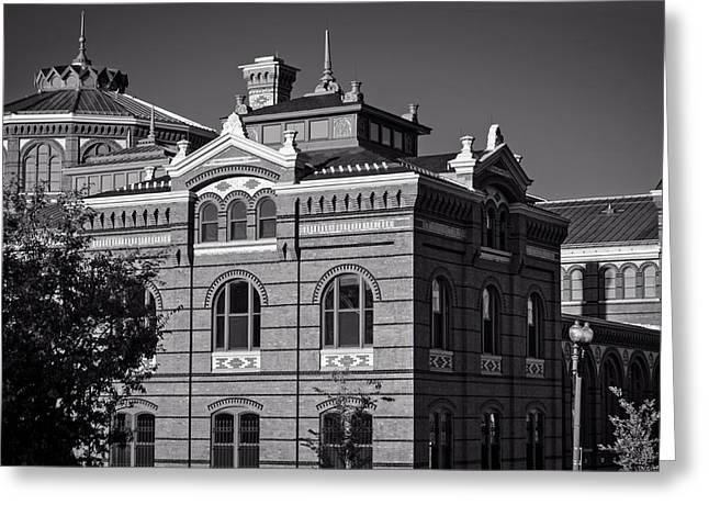 Arts And Industries Building In Black And White Greeting Card by Greg Mimbs