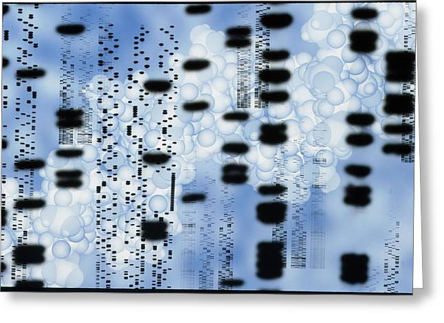 Double X Greeting Cards - Artwork Of Dna Sequences And A Dna Molecule Greeting Card by Pasieka