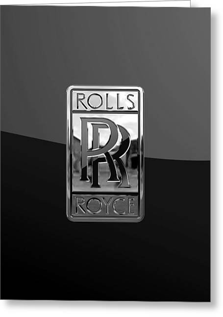 Rolls Royce - 3d Badge On Black Greeting Card by Serge Averbukh