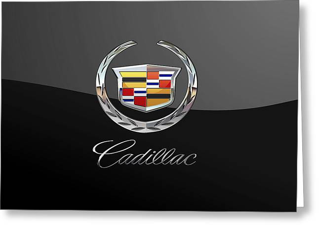 Cadillac - 3d Badge On Black Greeting Card by Serge Averbukh