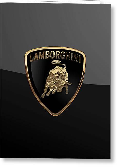 Lamborghini - 3d Badge On Black Greeting Card by Serge Averbukh
