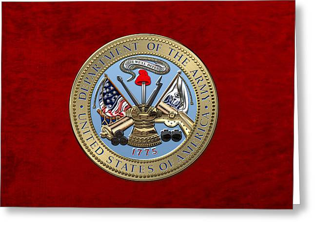 U. S. Army Seal Over Red Velvet Greeting Card by Serge Averbukh