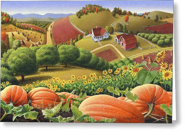 Old Barns Greeting Cards - Farm Landscape - Autumn Rural Country Pumpkins Folk Art - Appalachian Americana - Fall Pumpkin Patch Greeting Card by Walt Curlee