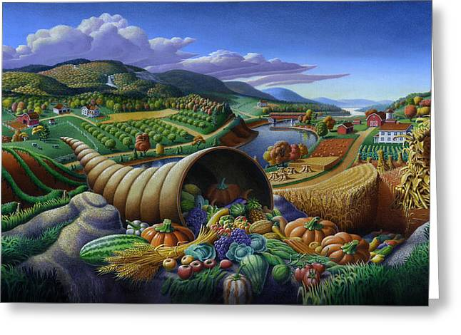 Kinkade Greeting Cards - Horn Of Plenty - Cornucopia - Autumn Thanksgiving Harvest Landscape Oil Painting - Food Abundance Greeting Card by Walt Curlee