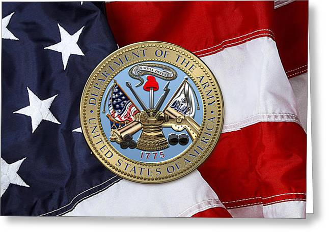 U. S. Army Seal Over American Flag. Greeting Card by Serge Averbukh