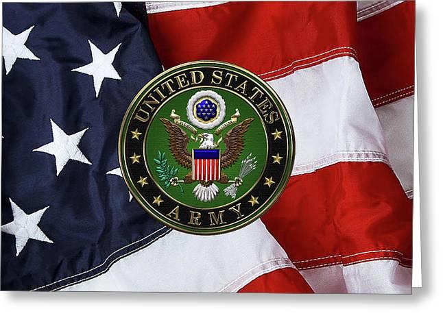U. S. Army Emblem Over American Flag. Greeting Card by Serge Averbukh