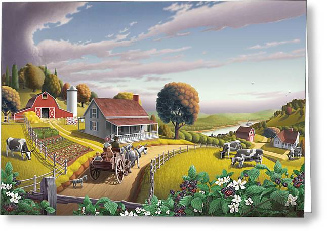 Kinkade Greeting Cards -  Appalachian Blackberry Patch Rustic Country Farm Folk Art Landscape - Rural Americana - Peaceful Greeting Card by Walt Curlee