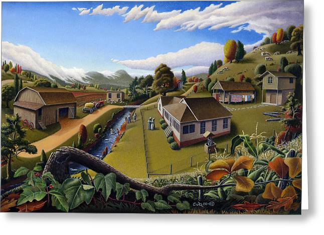 Amish Family Paintings Greeting Cards - Appalachia Summer Farming Landscape - Appalachian Country Farm Life Scene - Rural Americana Greeting Card by Walt Curlee