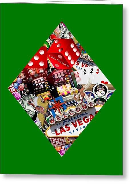Playing Cards Mixed Media Greeting Cards - Diamond Playing Card Shape Greeting Card by Gravityx9   Designs