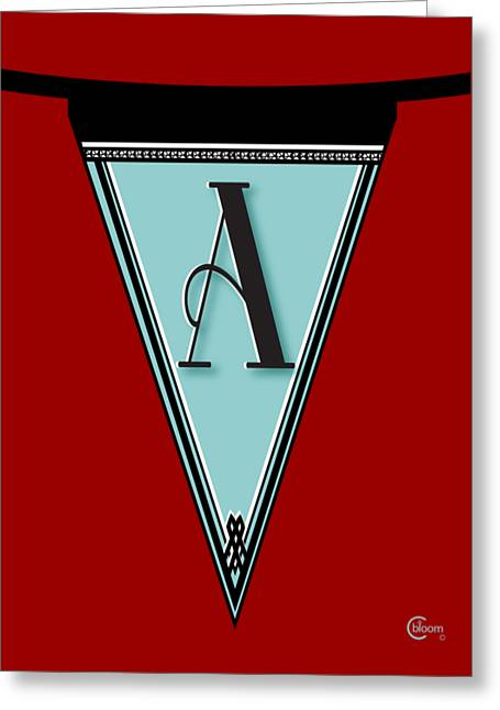 A Punk Greeting Cards - Manhattan 1920s Deco Blues Banner Monogram letter initial A Greeting Card by Cecely Bloom